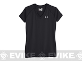 Under Armour Women's UA Tech Short Sleeve V-Neck - Black (Size: Large)