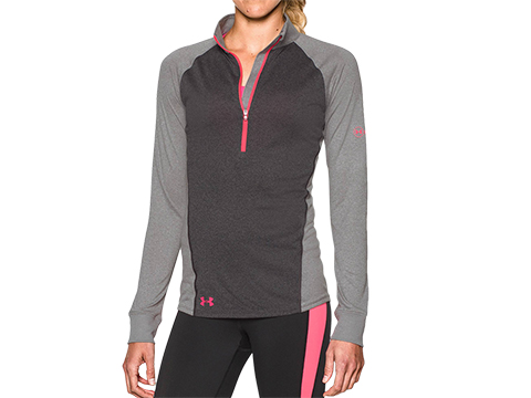 z Under Armour Tech Freedom Womens 1/2 Zip Long Sleeve Shirt - Carbon Heather (Size: Large)