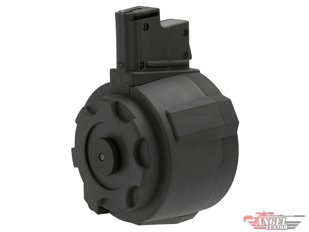 Pre-Order ETA June 2021 Angel Custom 1500 Round Firestorm Airsoft AEG Drum Flashmag (Color: Black / AUG Adapter)