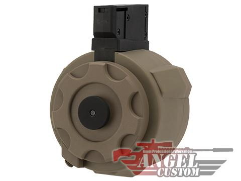 Angel Custom 1500 Round Firestorm Airsoft AEG Drum Flashmag (Color: Dark Earth / M14 Adapter)