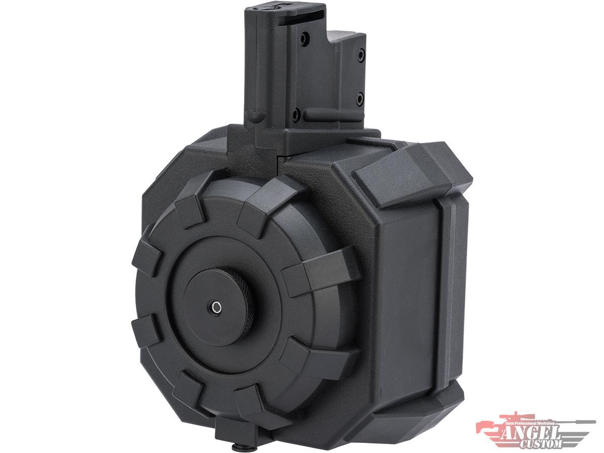 Angel Custom 2000 Round BLOK Firestorm Airsoft AEG Drum Flashmag (Color: Black / AUG Adapter)