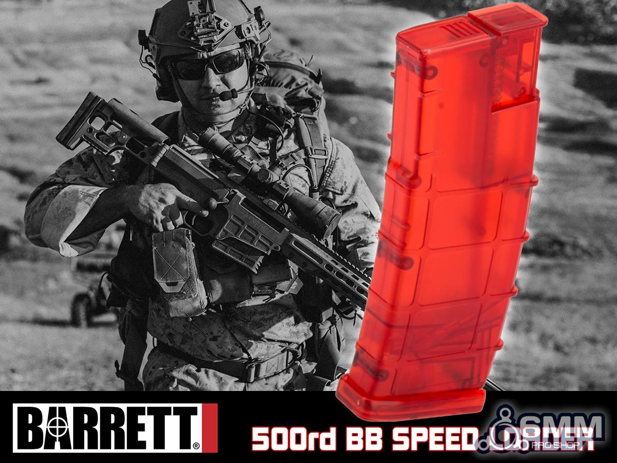 6mmProShop Barrett Licensed Special Edition 500 Round Rifle Mag Size Airsoft Universal BB Speed Loader (Color: Barrett Special Edition Red)