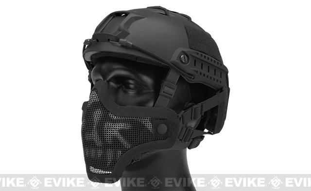 6mmProShop Iron Face Mesh Striker V1 Lower Half Mask for Use with Bump Helmets (Color: Black / Skull)