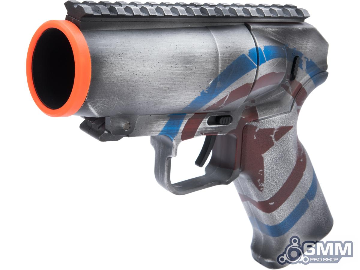 6mmProShop Airsoft Pocket Cannon Grenade Launcher Pistol w/ Black Sheep Arms Custom Cerakote (Color: Captain's Shield)