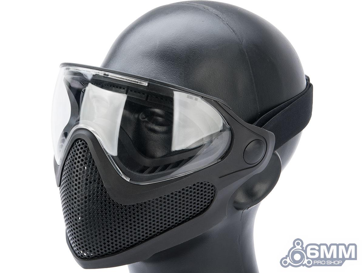 6mmProShop Pilot Face Mask w/ Steel Mesh Lower Face Protection (Color: Black)