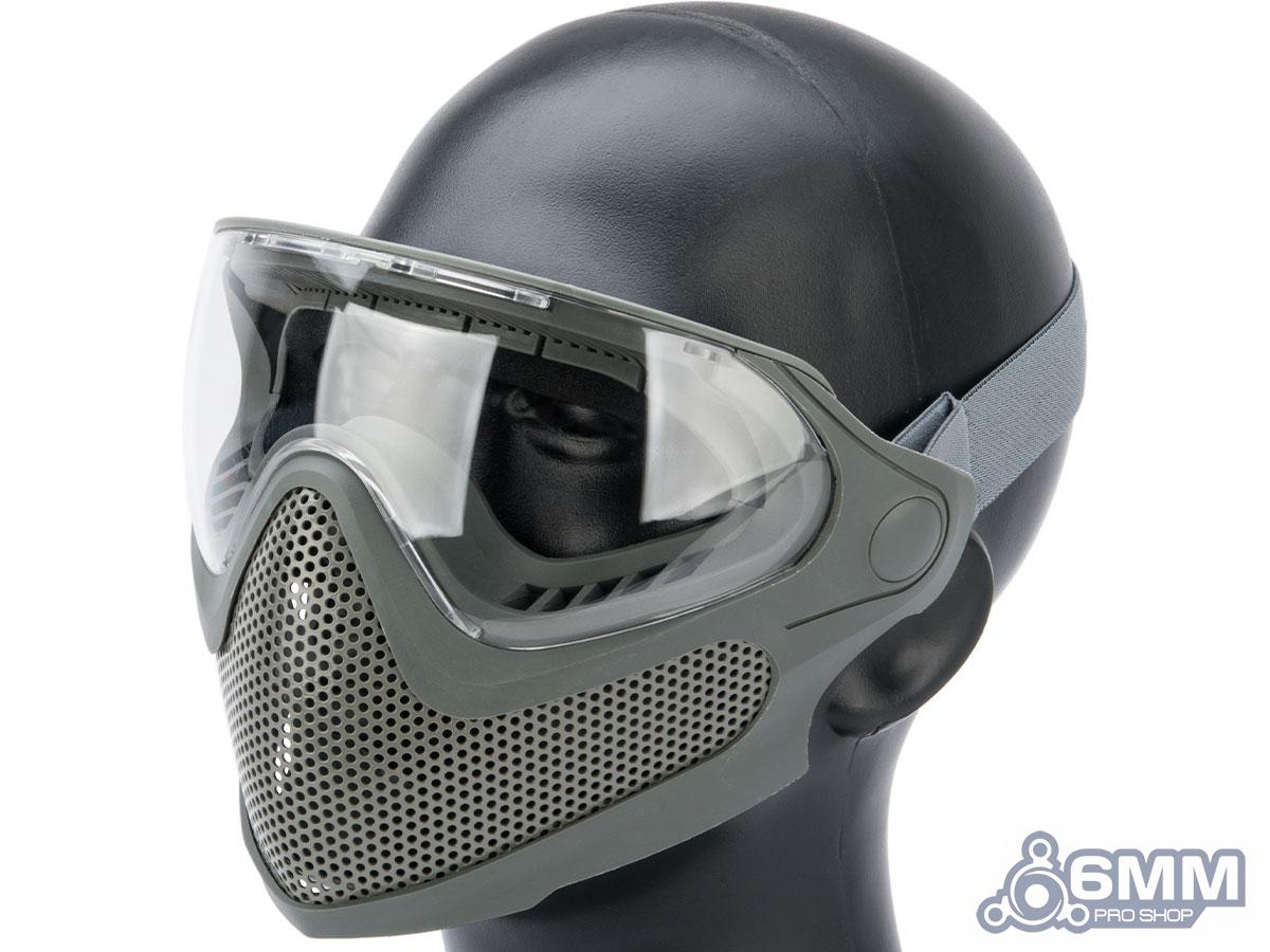 Pre-Order ETA June 2021 6mmProShop Pilot Face Mask w/ Steel Mesh Lower Face Protection (Color: Foliage Grey)