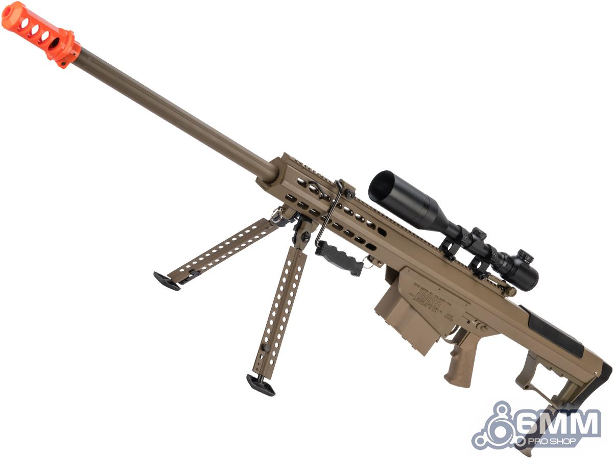 6mmProShop Barrett Licensed M107A1 Bolt Action Powered Airsoft Sniper Rifle (Color: Tan / Gun Only)