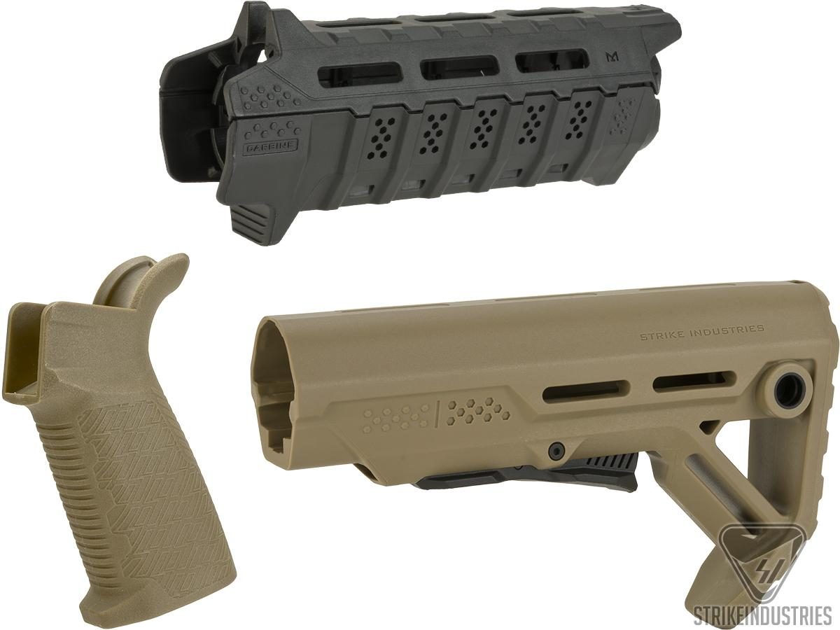 Strike Industries Carbine Length Polymer Furniture Package for Airsoft AEG Rifles (Color: Tan / Black)