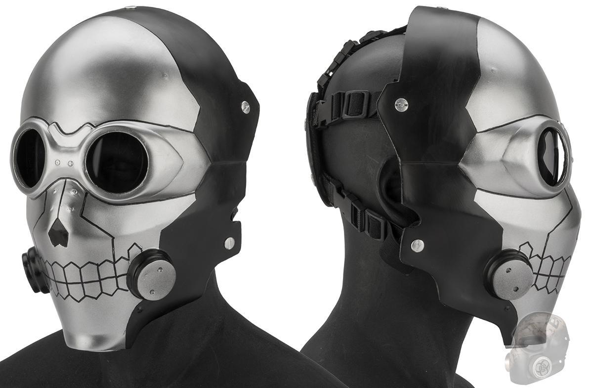 Evike.com R-Custom Fiberglass  Death Gun Full Face Mask  with Smoked Lenses (Color: Silver / Grey Lens)