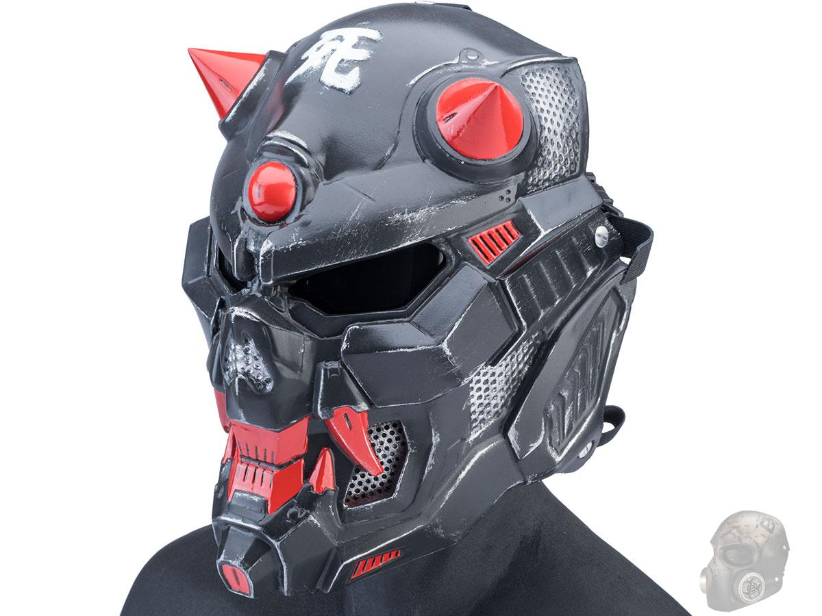 Evike.com R-Custom Fiberglass Oni Full Face Mask (Color: BlackOps / Large / Smoke Lens)