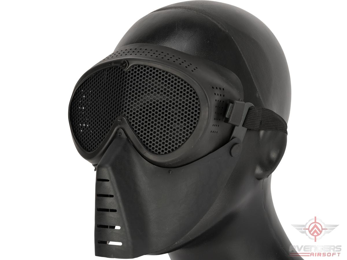 SanSei Type Tactical Low Profile Airsoft Mesh Mask (Color: Black)