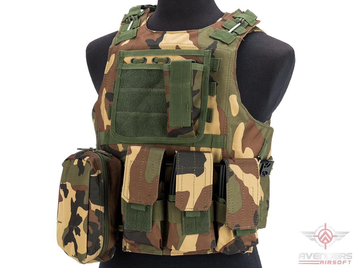 Avengers Military Style MOD-II Quick Release Body Armor Vest (Color: Woodland)