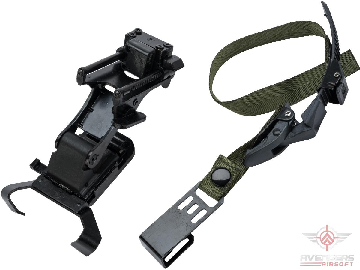 Avengers AN/PVS Type NVG Night Vision Helmet Mount for Airsoft (Color: Black / OD Green Strap)