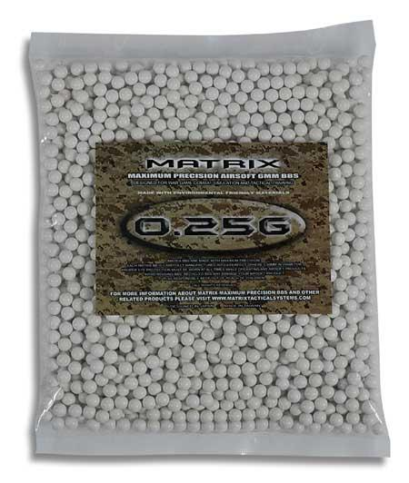 Matrix Match Grade 6mm Airsoft BBs (Weight: .25g / 2000 Rounds / White)