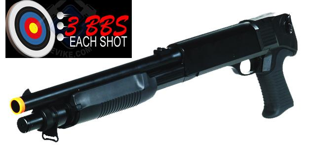 Double Eagle M3 3-Round Burst Multi-Shot Shell Loading Airsoft Shotgun (Model: Pistol Grip)