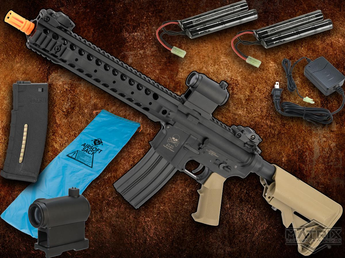 Go Airsoft Package Matrix Sportsline M4 RIS Airsoft AEG Rifle w/ G3 Micro-Switch Gearbox (Model: Dark Earth URX Carbine 12)