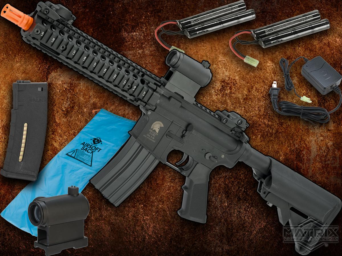 Go Airsoft Package Matrix Sportsline M4 Airsoft AEG Rifle w/ G3 Micro-Switch Gearbox (Model: Black RIS 9)