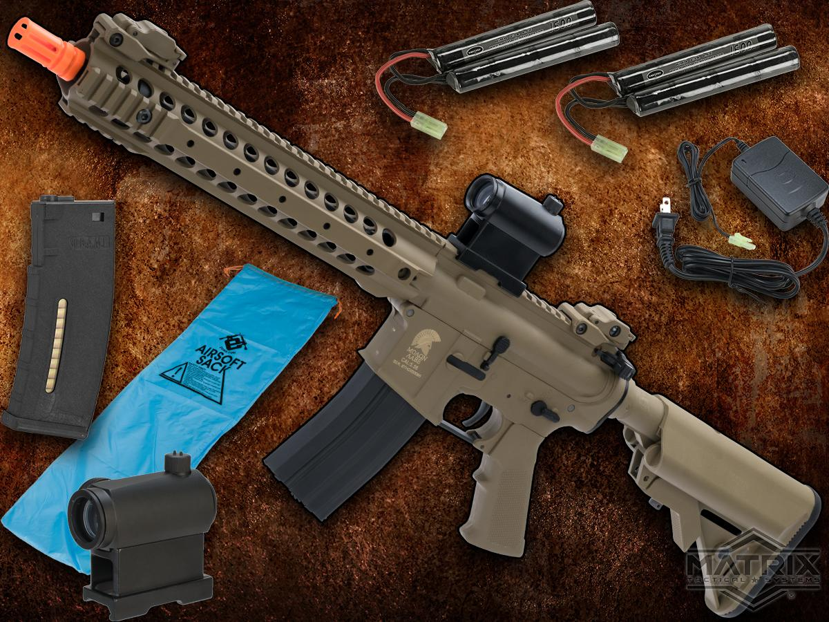 Go Airsoft Package Matrix Sportsline M4 Airsoft AEG Rifle w/ G3 Micro-Switch Gearbox (Model: Dark Earth URX Carbine 12)
