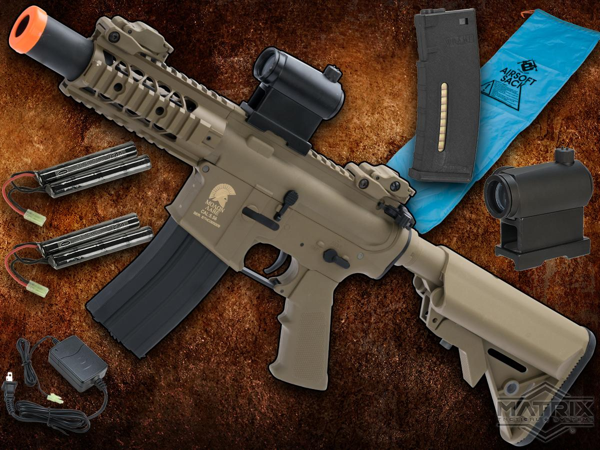 Go Airsoft Package Matrix Sportsline M4 Airsoft AEG Rifle w/ G2 Micro-Switch Gearbox (Model: Dark Earth Stubby 5)