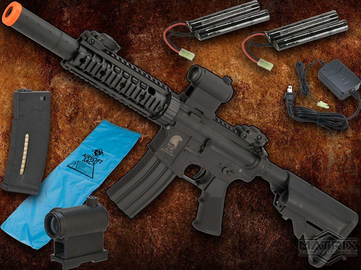 Go Airsoft Package Matrix Sportsline M4 Airsoft AEG Rifle w/ G2 Micro-Switch Gearbox (Model: Black M4 RIS CQB-R)