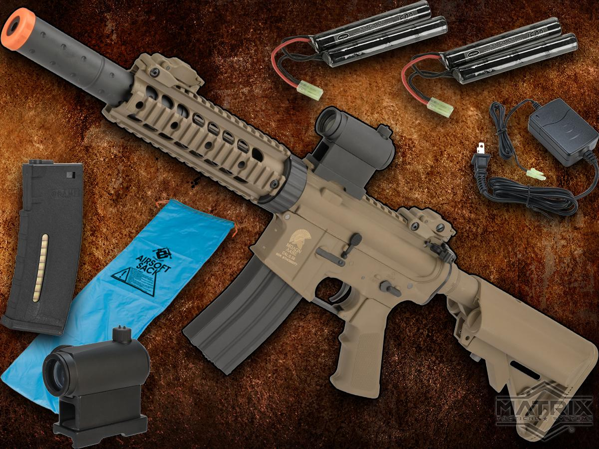 Go Airsoft Package Matrix Sportsline M4 Airsoft AEG Rifle w/ G3 Micro-Switch Gearbox (Model: Dark Earth M4 RIS CQB-R)