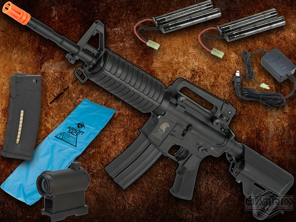 Go Airsoft Package Matrix Sportsline M4 Airsoft AEG Rifle w/ G3 Micro-Switch Gearbox (Model: Black M4A1)