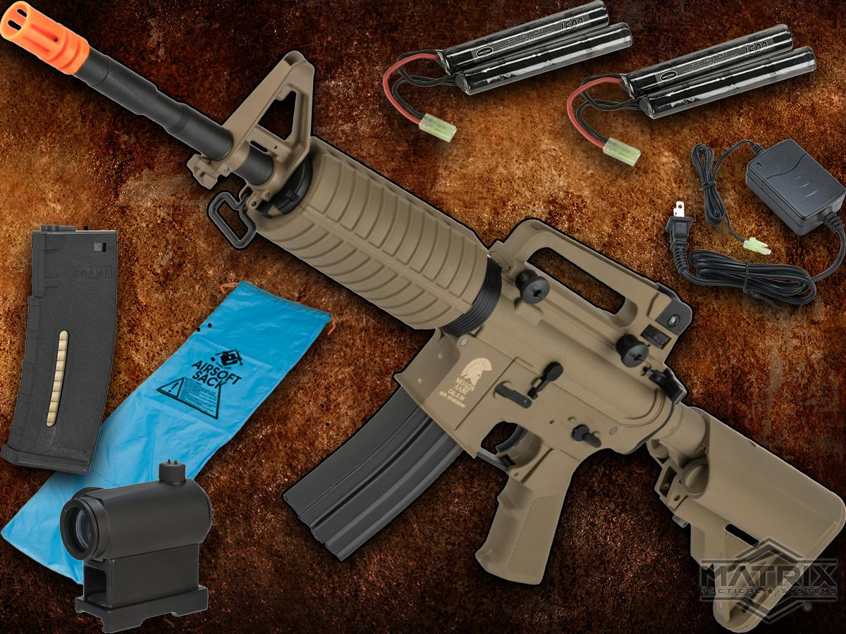 Go Airsoft Package Matrix Sportsline M4 Airsoft AEG Rifle w/ G3 Micro-Switch Gearbox (Model: Dark Earth M4A1)