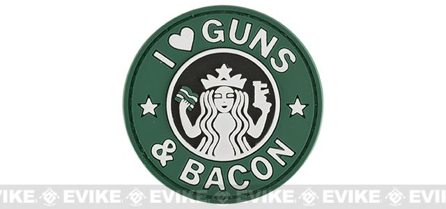 Rubberized PVC I Love Guns & Bacon Tactical Patch - Green