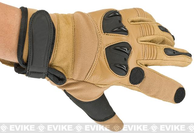 Matrix Tactical Knuckle Protector Leather Shooting Gloves (Color: Tan / Small)