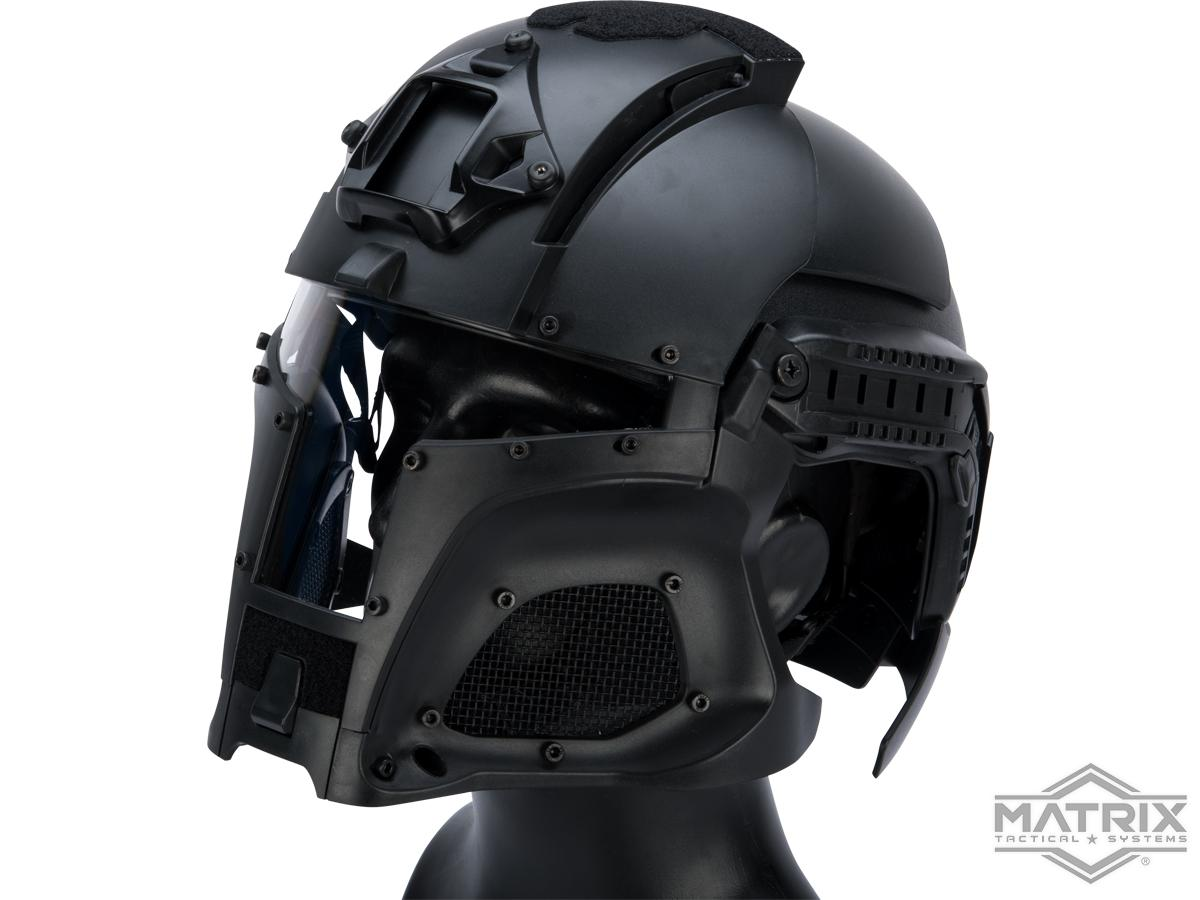 Matrix Medieval Iron Warrior Full Head Coverage Helmet / Mask / Goggle Protective System (Color: Black)