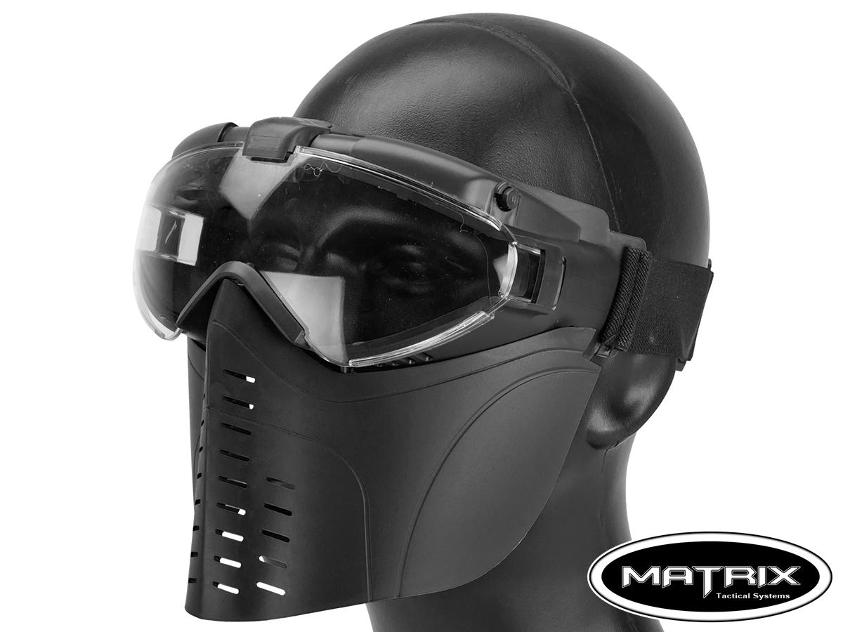 Matrix Full Face Mask Set with Full Seal Goggles (Color: Black)