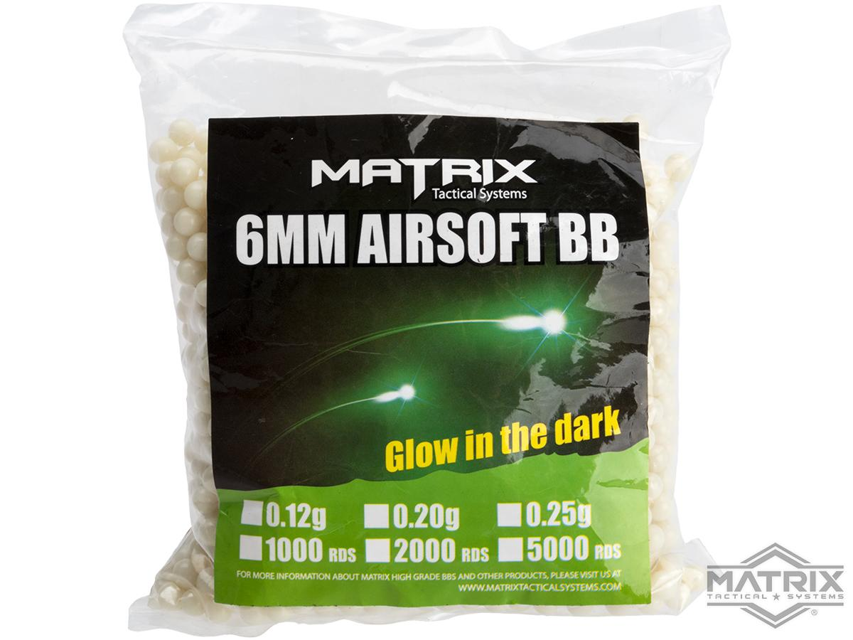 Matrix Match Grade 6mm Glow-in-the-Dark Airsoft Tracer BB (Model: 0.20g Green 2000rds)