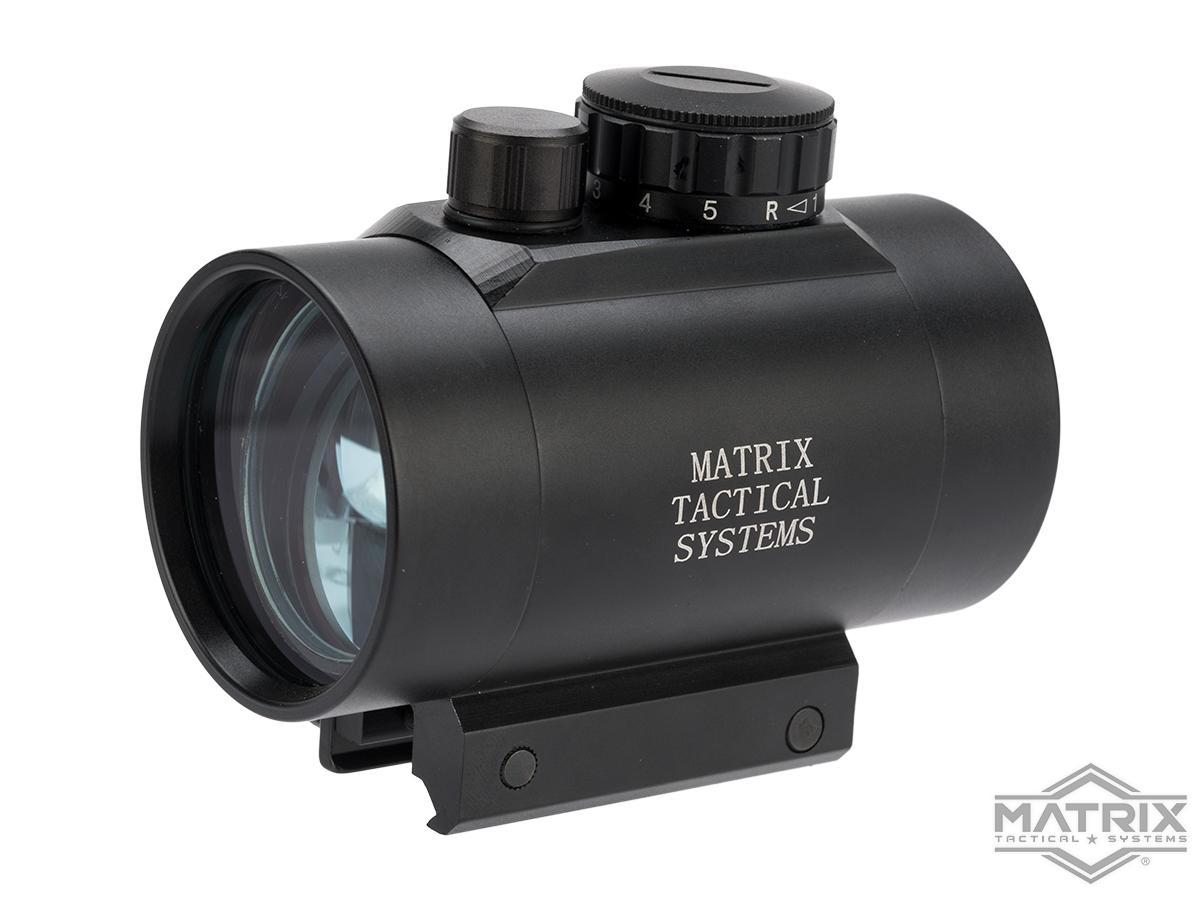 Matrix 1x50 Military Style Illuminated Red / Green Dot Sight Scope w/ QD Weaver Base & Flip-Up Lens Caps