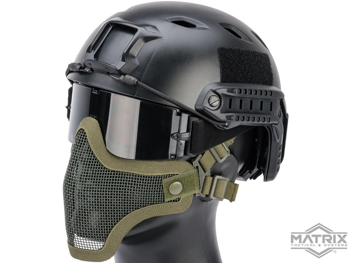 Matrix Iron Face Carbon Steel Mesh Striker V1 Lower Half Mask (Color: OD Green)