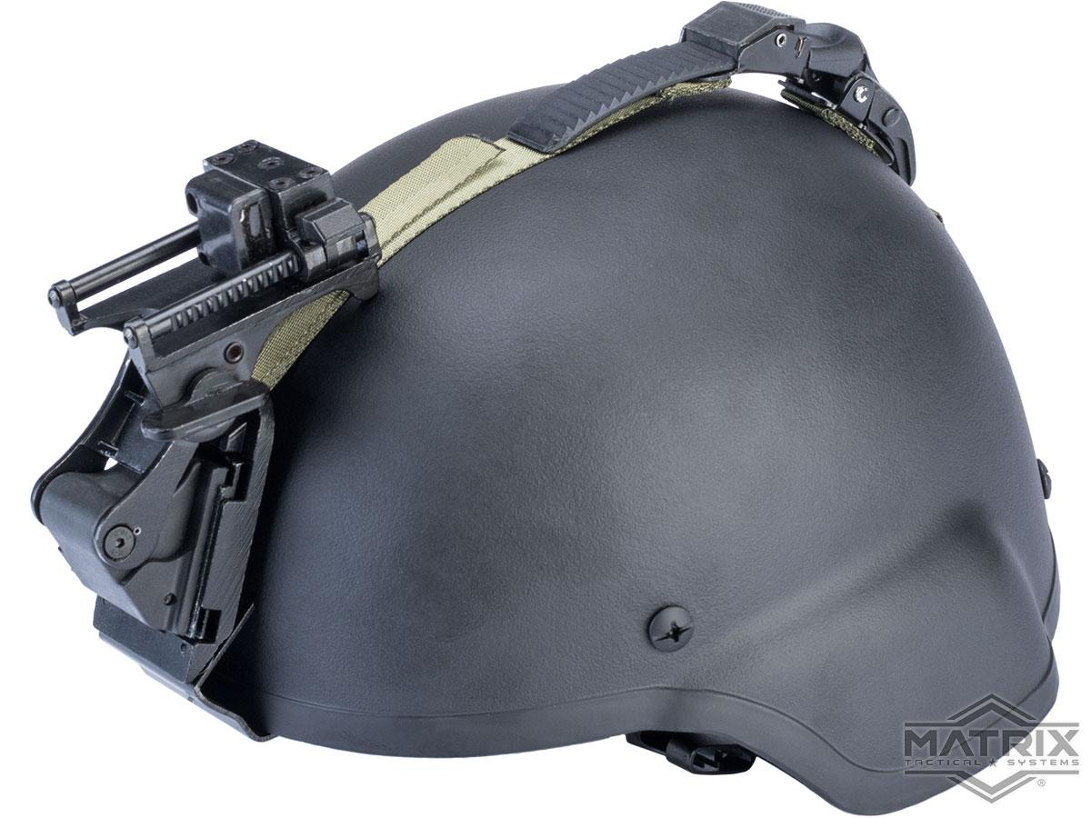 Matrix MICH 2000 Fiberglass Airsoft Helmet w/ NVG Mount & Mount Base (Color: Black)