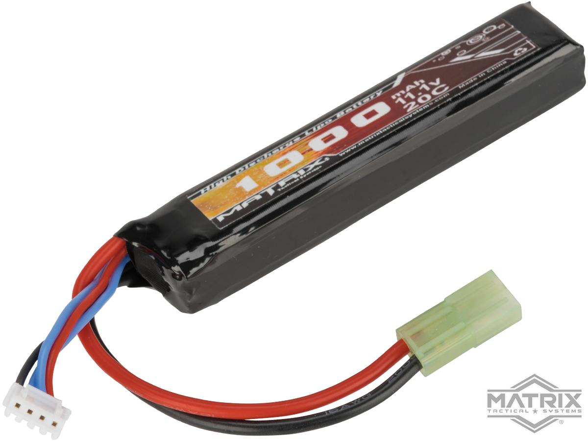 Matrix High Performance 11.1v 1000mah Stick Type Airsoft LiPo Battery (Configuration: 20C / Small Tamiya & Long Wire)