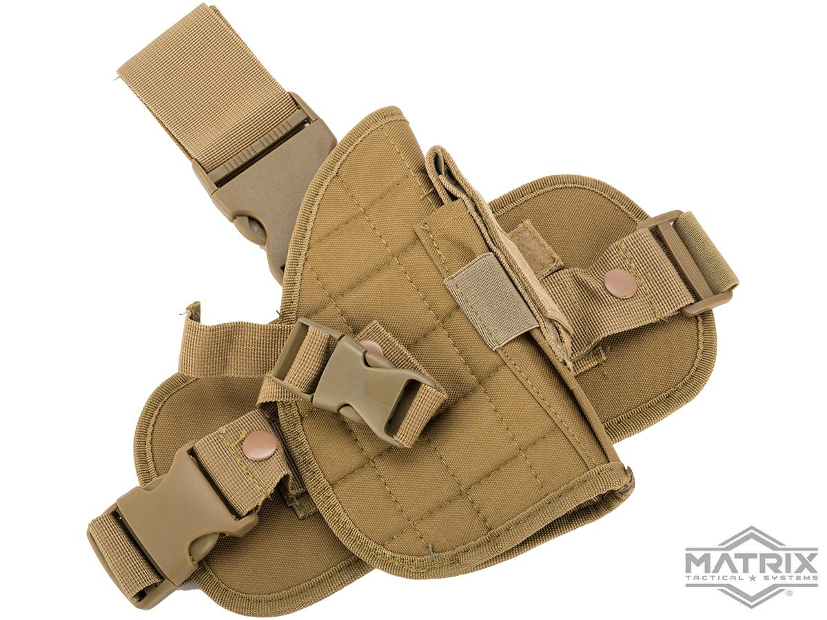 Matrix Special Force Quick Draw Tactical Thigh Holster w/ Drop Leg Panel (Color: Coyote Tan / Right)