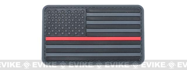 US Flag PVC Hook and Loop Rubber Patch (Color: Regular / Thin Red Line)