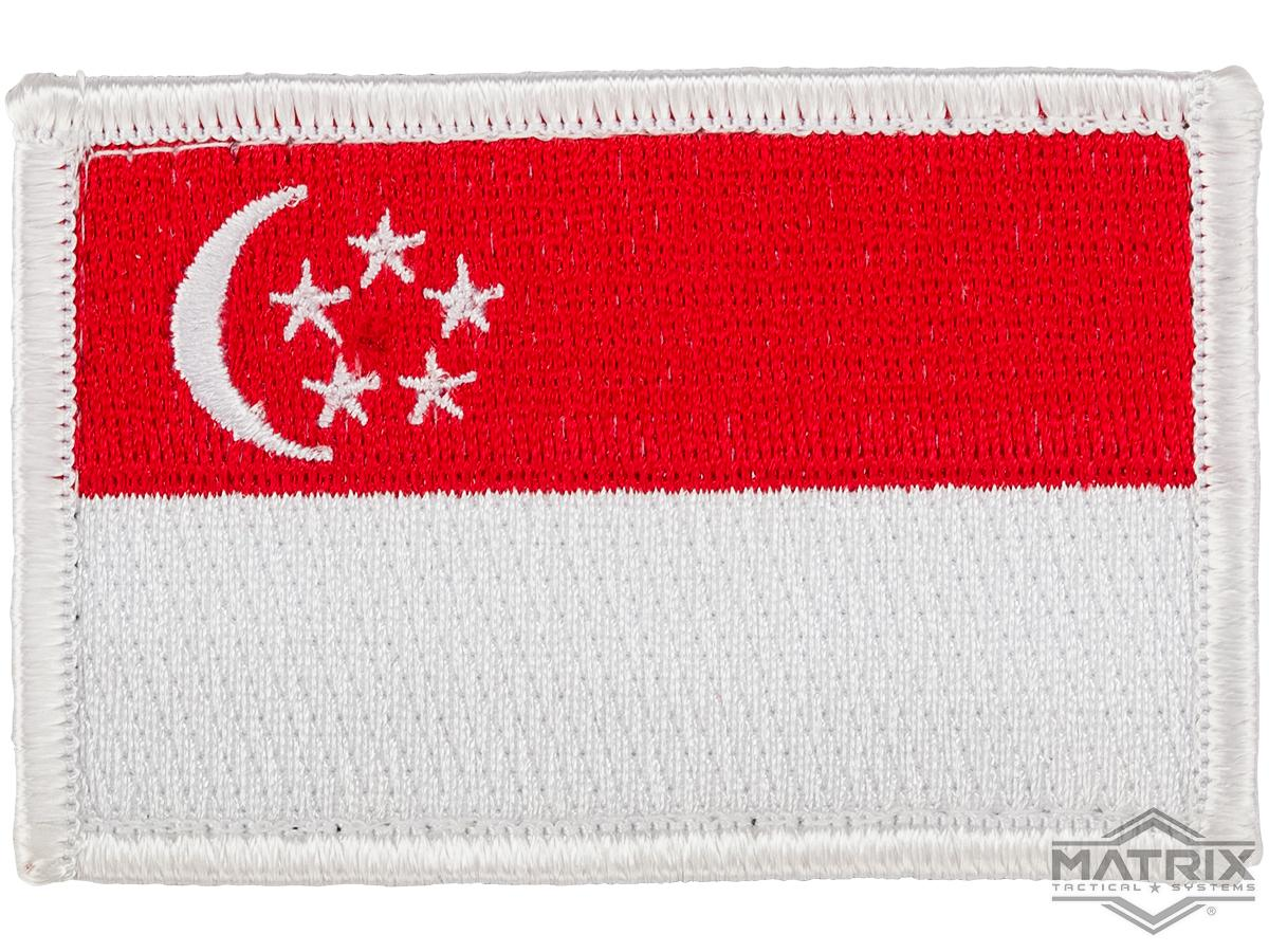 Matrix Country Flag Series Embroidered Morale Patch (Country: Singapore)