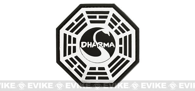 Dharma PVC IFF Hook & Loop Patch - Black / White