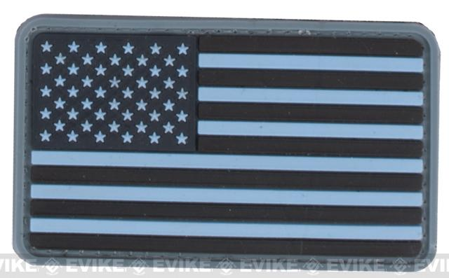 US Flag PVC Hook and Loop Rubber Patch (Color: Regular / Navy Blue)