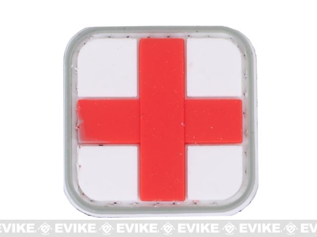 Medic Cross PVC Hook and Loop Patch (Color: Red & White)