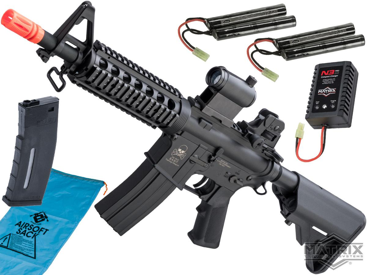 Matrix Full Size M4 BAMF Airsoft AEG w/ Metal Gearbox (Model: M4 CQB RIS Black / 400 FPS / Go Airsoft Package)