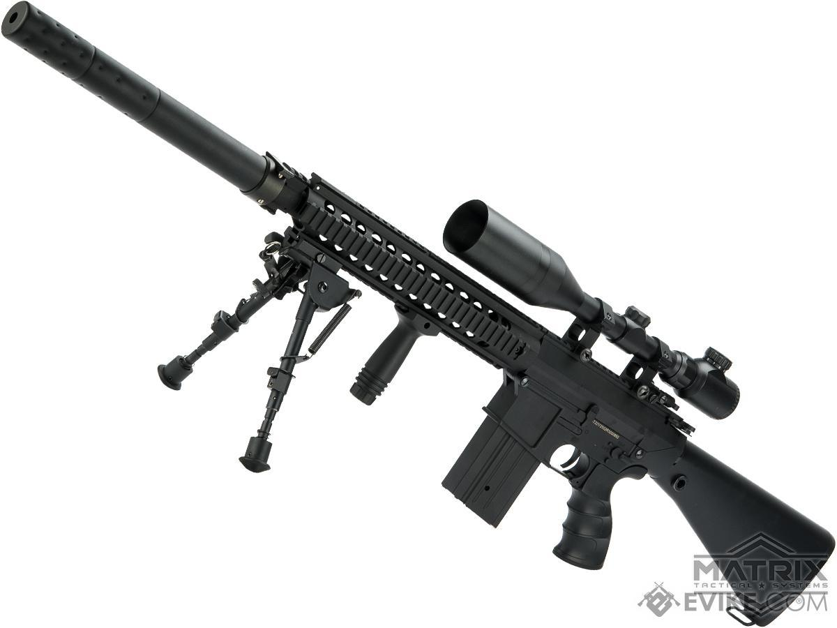 Matrix Full Size SR25 Precision Rifle Airsoft AEG (Model: Polymer Receiver / Black)