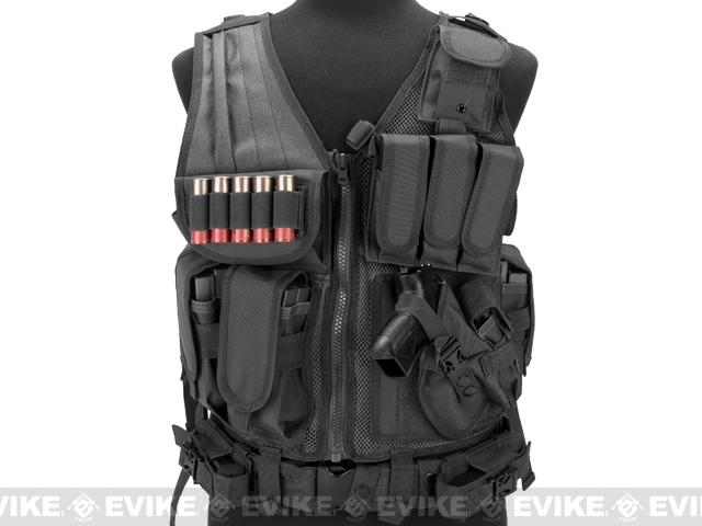Matrix Special Force Cross Draw Tactical Vest w/ Built In Holster & Mag Pouches (Color: Black)
