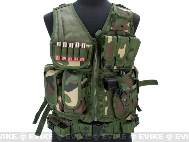 Matrix Special Force Cross Draw Tactical Vest w/ Built In Holster & Mag Pouches (Color: Woodland)