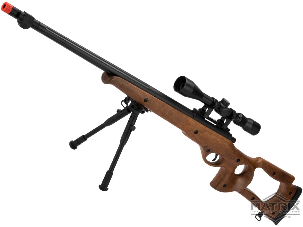 Matrix VSR10 MB09 Airsoft Bolt Action Sniper Rifle by WELL (Color: Imitation Wood + Scope and Bipod)