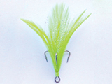 Mustad Dressed Treble with Black Nickel Hook and White Chartreuse Feathers