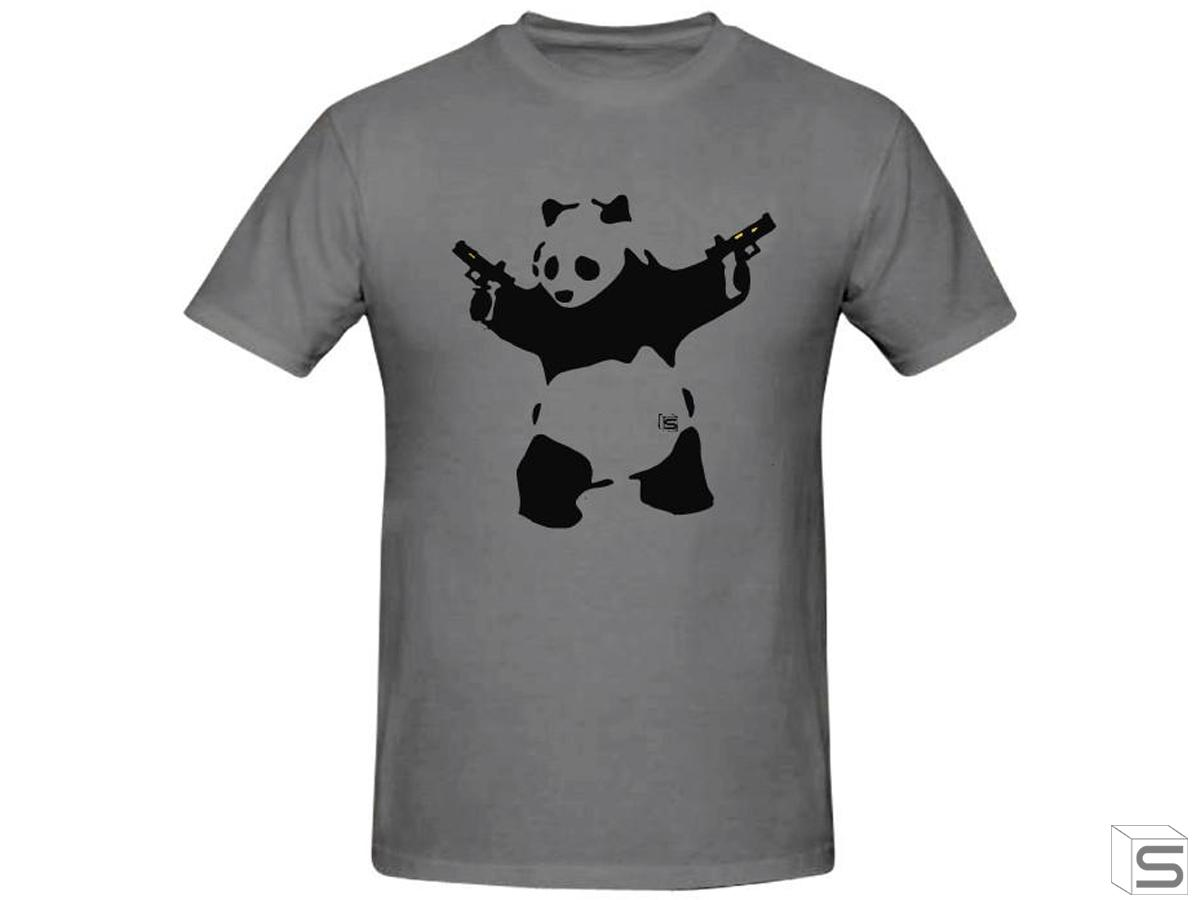 Salient Arms Panda Screen Printed Cotton T-Shirt (Size: Womens Small)