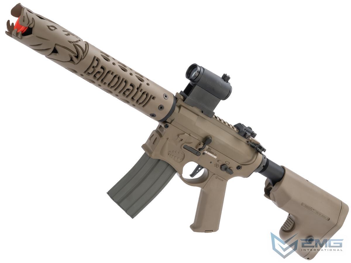 EMG Sharps Bros Warthog Baconator Licensed Advanced M4 Airsoft AEG Rifle with Super High Torque Slim Motor Grip (Color: Tan / 10 SBR)